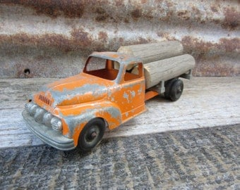 Vintage Metal Toy Truck 1940s or 50s HUBLEY Log Truck Pressed Steel Metal Big Rig Truck Orange Tractor Trailer Toy Vehicle Old Fashioned Toy
