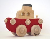 Personalized Wooden Tug Boat in Red -  A Push Toy for Kids - Wooden Toy Boat