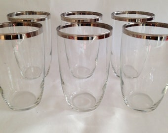 Vintage 1960s Silver Band Tumblers Glasses Dorothy Thorpe Style Set of 6