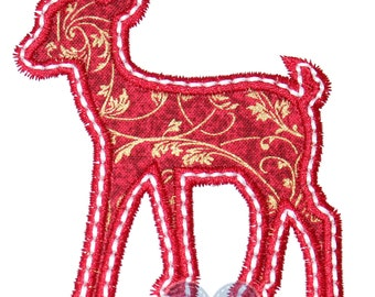 Christmas Reindeer Silhouette Appliqued Embroidered Patch, Iron or Sew on
