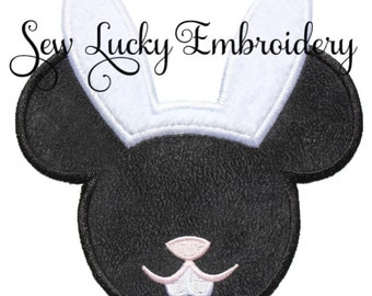 Mouse Head Bunny Appliqued Embroidered Patch, Sew or Iron on