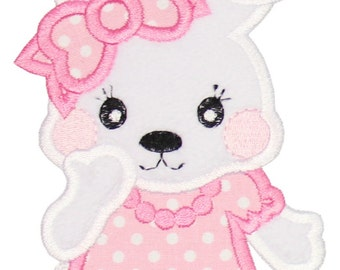 Cute Girl Bunny Applique Embroidered Patch , Sew or Iron