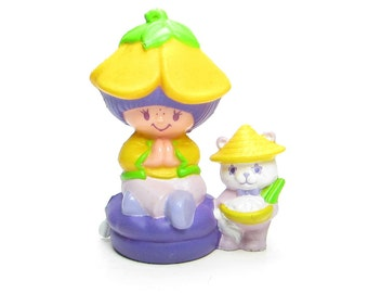 Almond Tea with Marza Panda Sitting on a Cushion Vintage Strawberry Shortcake PVC Miniature Figurine