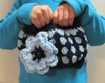 Dark and Light Blue Small Crocheted Purse