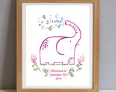 Personalised Child's Name, Personalised Christening Gift Print, New Baby Gift, Personalised Nursery Wall Art