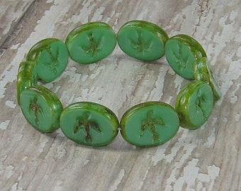 Green Oval Bead 15x12mm Czech Glass Bird Carved Picasso GREEN JAY (6)