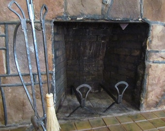 Art Deco Andirons and 3 Pc Fireplace Hand Forged Fire Tool Set with Stand Fire Poker Hand Tied Broom and Shovel, Hearth Tools