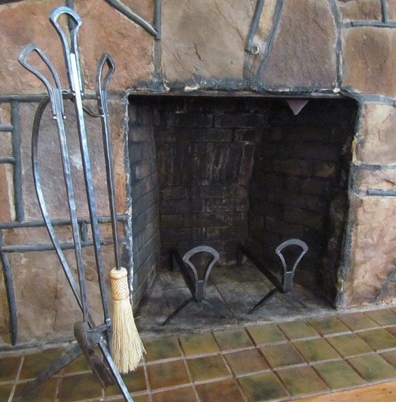 Art Deco Andirons and 3 Pc Fireplace Hand Forged Fire Tool Set with Stand Fire  Poker - Art Deco Andirons And 3 Pc Fireplace Hand Forged Fire Tool Set