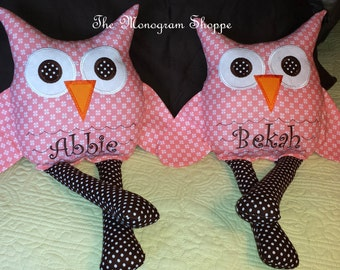 Kids Childrens Adorable Owl Pillow Softie Toy Woodland Animal Friend - Can Be Monogrammed Personalized