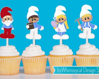 Blue Village People Cupcake Toppers
