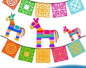 Mexican Pinatas and Bunting - Fiesta Clipart, Comes in png -Instant Download - Commercial Use