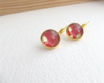 Red and Gold Leverback Earrings - Abstract Arty, Japanese gold paper - Glass cabochon earrings - red and gold