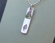 Sterling Silver and Peridot Leaf Necklace - 18 inch