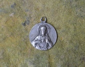 Antique religious medal, Regina Decor Carmeli, Vintage Catholic  jewelry, Antique French pendant, Vintage Sacred Heart medal