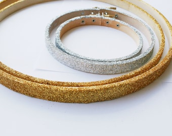 Glitter embroidery hoops for your sewing project / silver or gold glitter covered wood hoop / hand applied glitter with sealer