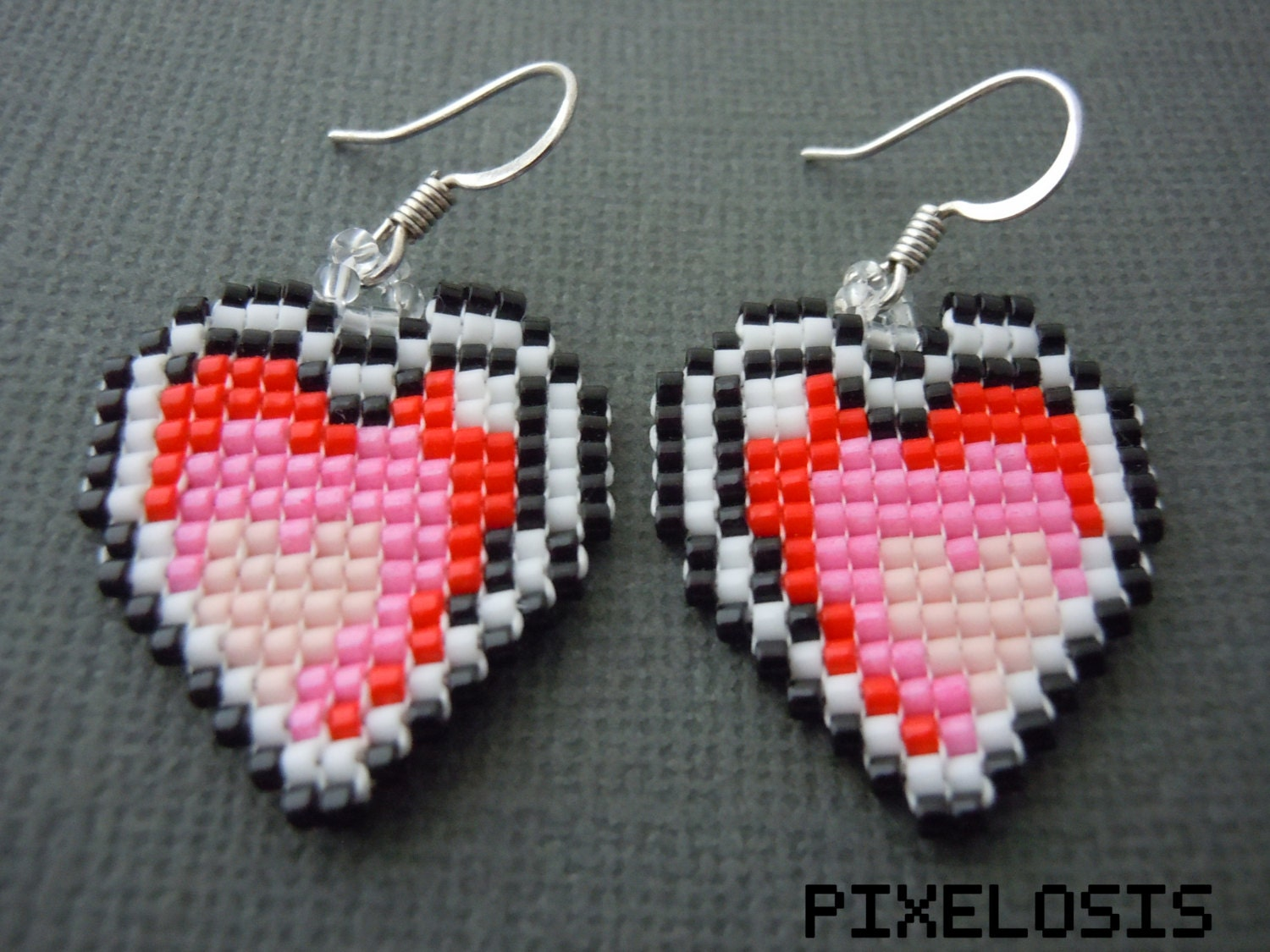 Heart container necklace seed bead video game jewelry by pixelosis