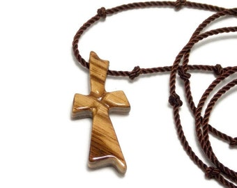 Cross Necklace - Wood Cross - Zebrawood Necklace -Carved Cross - Men's Cross Necklace - African Zebrawood - Gifts for Him