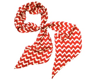 Red Scarf, Chevron Scarf, Bandana, Head Wrap for Women, Neck Scarf, Hair Scarf, Long Scarf, Women Scarf, Under 20 Dollars, Ready to Ship