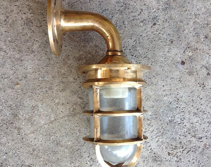 Beach Decor Brass  Lantern Glass Nautical  Vintage Restored by SEASTYLE