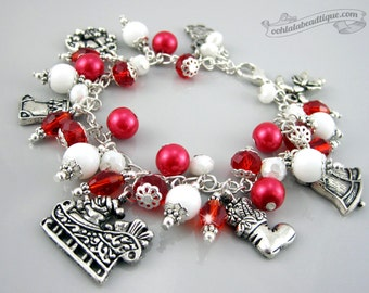 Christmas Charm bracelet, holiday jewelry, Santa bracelet christmas jewelry holiday bracelet christmas bracelet silver charms gift for her