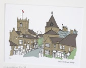 "Church Street, Ilkley, Yorkshire - Original art illustrative print, (10"" x 12"") 'as scene by me' range"
