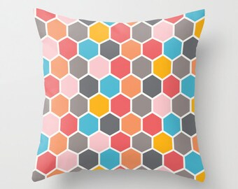 Hexagon Honeycomb Pattern Multicolour Decorative Pillow Cover, retro pillow cover, Geometric Cushion cover, Indoor or Outdoor pillow cover