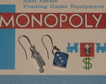 Monopoly Earrings Dice Wheelbarrow Vintage Game Piece Jewelry Upcycled Recycled Eco Gift