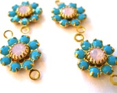 Swarovski flower connector turquoise and rosewater opal two loops flower connector findings Gold Plated 2 ring connector Qty 4 findings