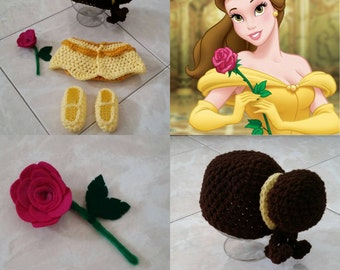 Crochet Beauty And The Beast Belle Outfit (beanie, diaper cover, booties, rose)