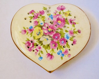Vintage Heart Shaped Pomander Flowers Pink Blue Yellow Pot Pourri