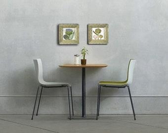 artichoke - plate set - mothers day gift - kitchen decor - artichoke art - hanging plates - green kitchen - home decor - decoupage plate