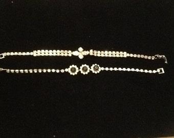 Set of two mid century rhinestone bracelets.