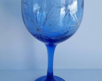 Sowflakes cobalt blue wine glass hand painted