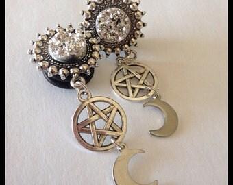 PICK SIZE Silver Pentagram Cresent Moon  Girly Dangle Plugs Plug