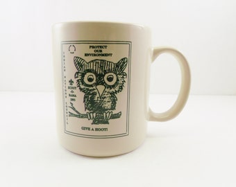 Owl Mug ~ Give A Hoot ~ Scout-O-Rama 1993 ~ Protect Our Environment ~ Indian Nations Council