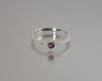 Silver Band Ring with Rhodolite Garnet