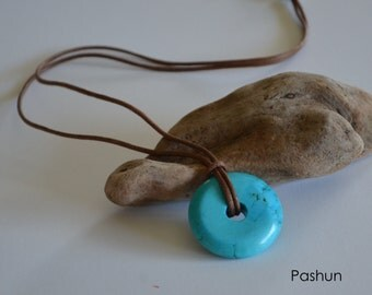 Seashell Jewelry …Yoga ... Magnesite Dyed Turquoise Donut on Suede Necklace (1209)