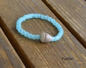 Seashell Jewelry … Beaded Shell Bracelet ... Yoga Stretch Bracelet (1307)