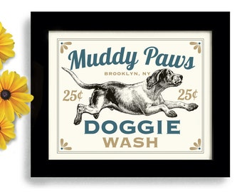 Laundry Room Decor Dog Art Dog Wash Art Sign Wall Art Print Mudroom Bathroom Art Washing Machine Kitchen Art
