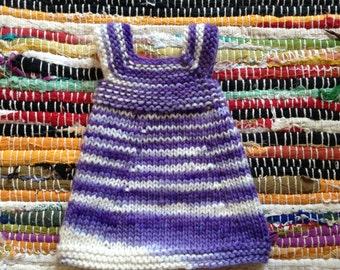 Hand Knit Waldorf Doll Dolly Rainbow Dress Purple
