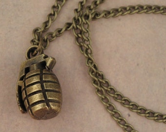 ZOMBIE APOCALYPSE Antique Bronze Grenade Necklace