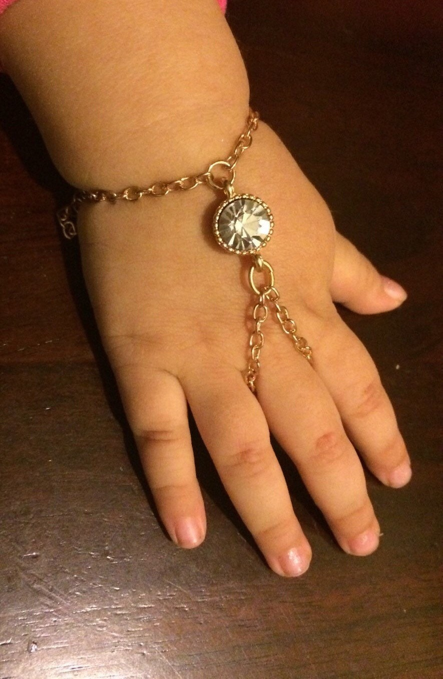 Baby girl round crystal slave Bracelet or Hand Harness with