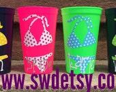 POLKA DOT bikini tumblers, Set of 7, Bachelorette Cups, Beach,Bikini, Party Cups