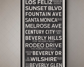 Los Angeles California Vintage Subway Roll Sign, Subway Art, Tram Banner, Trolley Sign, Bus Sign, City Art, Geographic Art, Typography Map