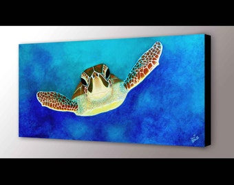 Sea Turtle Canvas Print |  Green Sea Turtle | Canvas Print | Sea Turtle Art | Sea Life Art | Surf Decor | Turtle Painting | Sea Painting