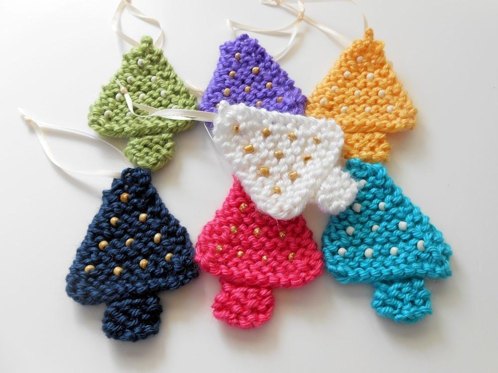 2 Christmas Tree Ornaments Knit Ornaments Beaded Ornaments