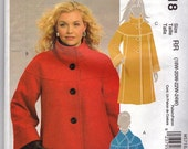 New  Lined Coat McCalls M5718 Size 8-16 or 18w-24w  WJacket with Yoke Stand Up or Turned Down Collar Front ButtonsUncut Factory Folded