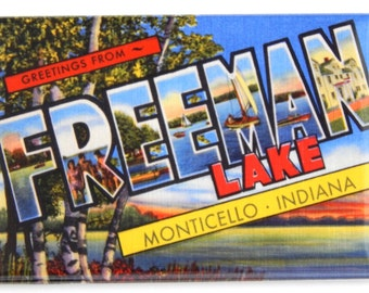 Greetings from Freeman Lake Indiana Fridge Magnet (2 x 3 inches)