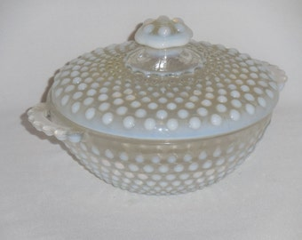 Anchor Hocking Moonstone Opalescent Hobnail Covered Candy Dish