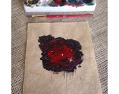 RESERVED - Where Stars Are Born: Red Abstract Nebula Painting on Paper 9x11 FRAMED
